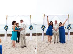 Small beach wedding in Miami, Florida. All floral decor, bamboo arbor, officiant, and photography by Small Miami Weddings. www.smallmiamiweddings.com