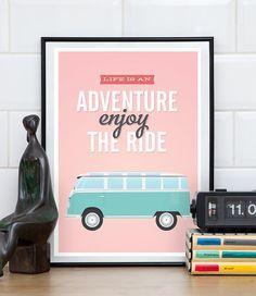 volkswagen van,  life is an adventure, Quote print, Pink home art, vw van poster, inspirational quote, motivational print, retro poster