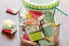 """Spread Christmas cheer and good vibes with a Mason jar of """"Complimentary Chocolates."""" Cut pieces of decorative papers to wrap around mini candy bars. (We used Hershey Miniatures, and our papers are inches. Mason Jar Christmas Crafts, Mason Jar Crafts, Holiday Crafts, Christmas Gifts, Xmas, Homemade Valentines, Valentine Day Gifts, Kids Valentines, Diy Valentine"""