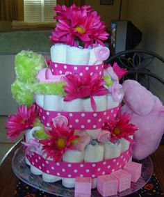 This Fun Diaper Cake will give you some great ideas for making your own!