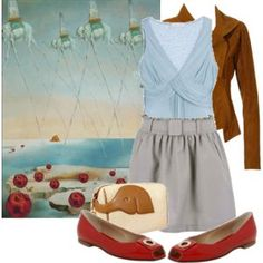 Dali - art inspired fashion at Polyvore. Makes me want to goto art.com for inspiration on new outfits for spring