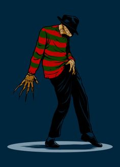 A Freddy Krueger t-shirt with Freddy in a Michael Jackson dance move. Art by New Nightmare, Nightmare On Elm Street, Freddy Krueger, Michael Jackson Merchandise, Michael Jackson Dance, Culture Shirt, Pop Culture, Scary Movies, Horror Movies