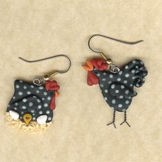 Hen and Rooster Chicken Earrings Polymer Clay
