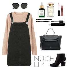 """""""Nude Lip"""" by namelessele ❤ liked on Polyvore featuring beauty, MANGO, Topshop, Sunday Riley, Fendi, CÉLINE, AERIN, Maybelline, Alexander Wang and Christian Dior"""