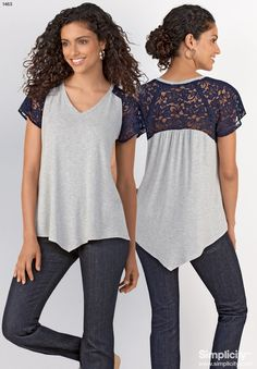 New Spring 2014 misses' knit top pattern. Your new favorite staple has just arrived! Make it casual or dress it up with some lace! #SimplicityPatterns
