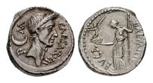 A denarius from 44 BC, showing Julius Caesar on the obverse and the goddess Venus on the reverse of the coin