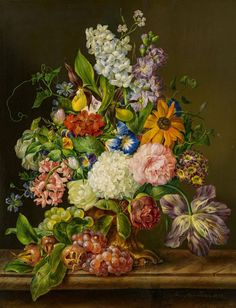 Franz Xaver Petter (1791-1866) - Still life with flowers, oil on panel, 53 x 41,5 cm. 1842.