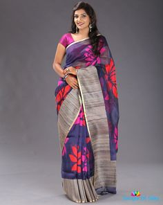 Textured line organza saree