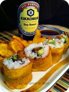 Sushi caribeño con - looks interesting :) and yummy Sushi Recipes, Cuban Recipes, Appetizer Recipes, Cooking Recipes, Appetizers, Comida Boricua, Boricua Recipes, Plantain Recipes, Puerto Rico Food