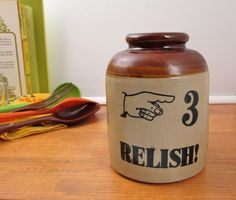 Vintage Moira Pottery England brown kitchen crock or rustic vase Relish! 3 with hand graphic by CircularVintage on Etsy