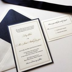 Navy & metallic gold thermography printed wedding invitations. Blush Paperie. http://www.blushpaperie.com