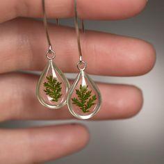 Dewdrop Fern Dangle Earrings in Sterling Silver