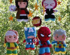 Baby Mobile Nursery Decor Superhero Mobile by feltcutemobile
