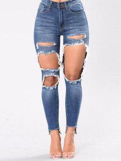 Femme Déchiré Jeans denim Pantalon Skinny Effilé Slim Crayon Jeggings Pantalon