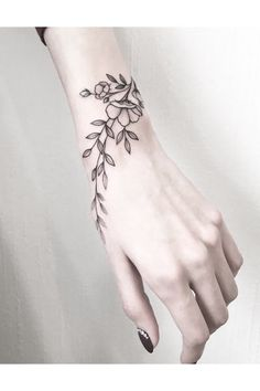 wrist tattoos with meaning, wrist tattoos for women, small wrist tattoos, unique wrist tattoos Unique Wrist Tattoos, Flower Wrist Tattoos, Wrist Tattoos For Women, Tattoo Designs For Women, Tattoos For Women Small, Tattoo Women, Tattoo Flowers, Small Tattoos, Girl Wrist Tattoos