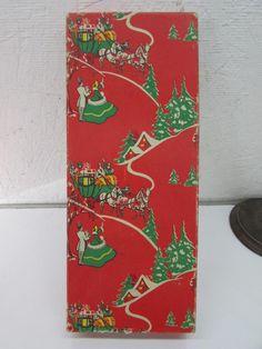 Vintage Christmas Gift Box Winter Scene Horse Drawn Sleigh 1940's