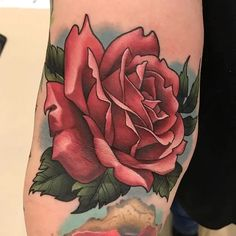 Tattoo uploaded by Hateful Kate Neo Traditional Roses, Traditional Rose Tattoos, Tattoos Skull, Hand Tattoos, Girl Tattoos, Blue Flower Tattoos, Pink Rose Tattoos, Peacock Tattoo, Shoulder Tattoos For Women
