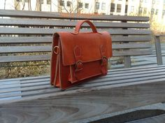 Large Suffolk mens leather messenger  handmade by saradisigner, $159.00