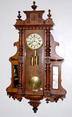 Antique Vienna Regulator Clock Pedestal, Radios, Antique Wall Clocks, Antique Bench, Mechanical Clock, Clock Shop, Retro Clock, Cool Clocks, Old Watches