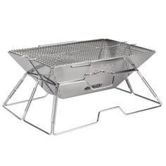 Quick Grill Large: Original Folding Charcoal BBQ Grill Made from Stainless Steel (Silver)