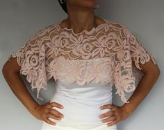 Cotton Lace Bridal Shrug Mini Chic White by MammaMiaBridal on Etsy, $37.00