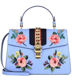 Blue Sylvie embroidered leather bag