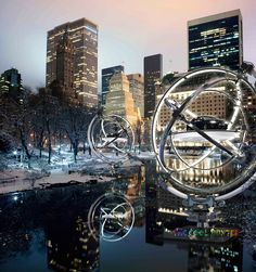 AUDI - New kind of billboard. It is a display of four life-size Audi cars, suspended inside the silver rings of a massive Audi symbol attached to an iconic bridge structure or in front of landmark spaces New York City Buildings, Winter Walk, Winter Snow, Winter Time, Night Photos, Night City, Photo Contest, Central Park, Places To See
