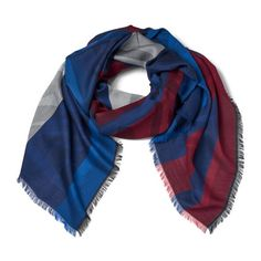 KENZO Jaquard Tiger Head Scarf - Red/White/Blue (21510 RSD) ❤ liked on Polyvore featuring accessories, scarves, blue scarves, blue shawl, red shawl, white shawl and white scarves