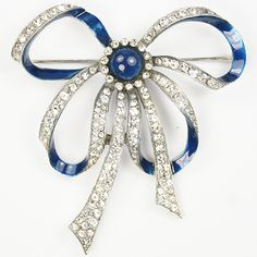MB Boucher Sapphire Cabochon and Metallic Enamel Blue and Pave Bowknot Pin ca 1939