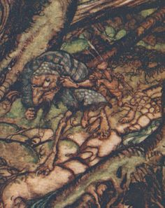 Goblins Wood Spirits Crow Undine Arthur Rackham 1909 Antique Tipped In Art Print #Antique