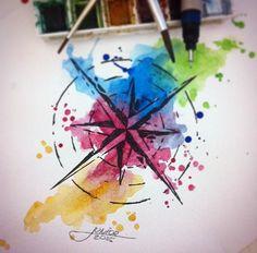 Rosa dos ventos - watercolor