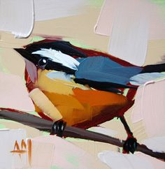 Nuthatch no. 18 original bird oil painting by Moulton 4 x 4 inches on panel prattcreekart