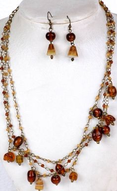 brown chain and bead necklaces   Brown Beaded Necklace and Earrings Set with Antiquated Chain