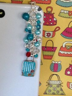 Turquoise Luggage Cellphone Charm for iPhone by PmBSparklesLinks, $12.00