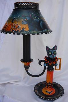 Vintage black cat candlestick lamp