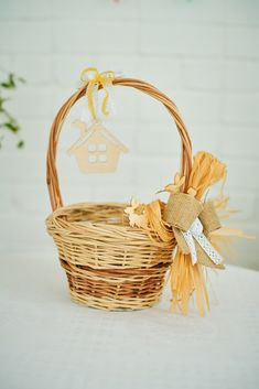 Eco friendly Easter basket, Wicker basket with Natural decor, Wooden rabbits and house toys, Beautiful Easter Gift for kids, Easter Decor Craft Stick Crafts, Easy Crafts, Crafts For Kids, Easter Bunny Decorations, Easter Decor, Wooden Rabbit, Easter Gifts For Kids, Nature Decor, Easter Baskets