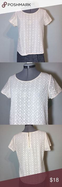 """Cynthia Rowley Cream Lace Blouse Top Cynthia Rowley Cream Lace Blouse Top. In great condition. Size M measures flat: 15"""" across shoulders, 20"""" across chest, 21"""" across bottom, 22"""" long. Has a back zip. Lace is 60% cotton, 40% nylon. Fully lined with 100% poly. 621/50/053017 Cynthia Rowley Tops Blouses"""