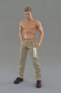 """1:6th scale beige / khaki - pants / trousers   Size: sixth scale ~ 12 inch collectible movable male action figures for example but not limited to: Hot Toys TTM 19, ZY Toys B005 """"VER 2.0A"""", COOMODEL B34003 """"Muscle male"""", World Box """"durable"""" ver. 2 VT002..."""