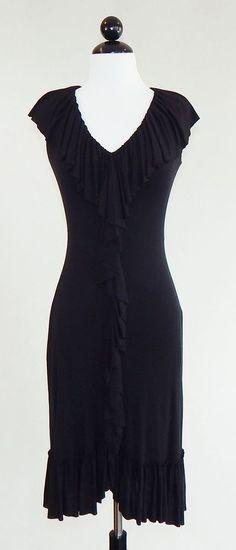 BAILEY 44 Black Stretch Knit Ruffle Neck Front Hem Dress Size S #Bailey44  #StretchBodyconSheath