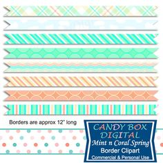 Coral and Mint Digital Ribbon Borders by CandyBoxDigital. Great for digital scrapbooks and journals, blogs and websites. At our Etsy shop.