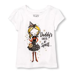 Toddler Girls Short Sleeve Glitter 'Daddy's Under My Spell' Witch Graphic Tee