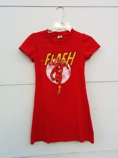 """Girls """"The Flash"""" T-shirt Dress Size 10 - Red men's cotton t-shirt refashioned into one-of-a-kind girls A-line dress with puffed sleeves"""