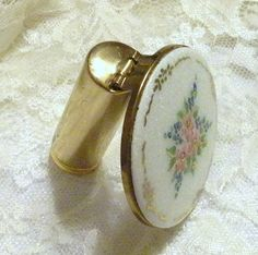Vintage Compact Mirror Lipstick Case by RosePetalResources on Etsy