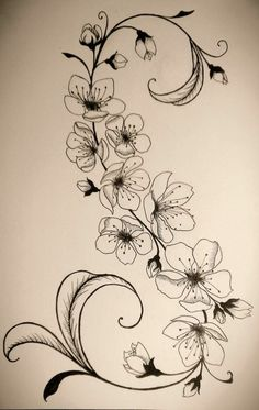 Tattoovorlage+Blumenranken+interessanter+Look+