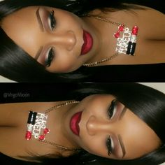 Ruby woo lipstick  with nightmoth liner with @Coastal Scents revealed palette on eyes