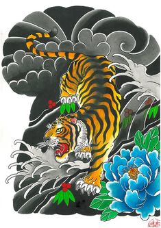 Tattoo Japanese Style, Japanese Tiger Tattoo, Traditional Japanese Tattoos, Japanese Sleeve Tattoos, Jaguar Tattoo, Tiger Tattoo Sleeve, Tattoo Sleeve Designs, Tiger Tattoodesign, Tiger Wallpaper