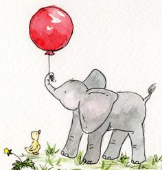 Ellie's Red Balloon $18  Adorable Elephant holding a red balloon and Duck print for the nursery