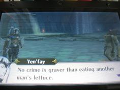"""Yen'fay dispenses some serious vegetarian justice. He is the hero lettuce deserves."" << THIS."