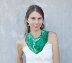 LENA BAYMUT- UKRAINE  Emerald green felted collar statement  felt necklace by Baymut, $29.00 on ETSY   http://www.baymut.etsy.com https://www.facebook.com/LenaBaymut?fref=ts