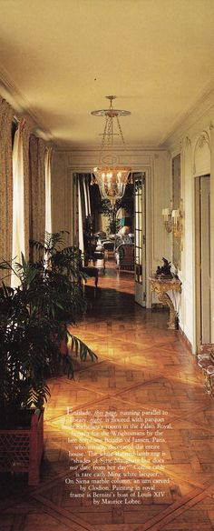 The enfilade, which runs parallel to the library, is floored with parquet from Richelieu's rooms in the Palais Royal, installed for the Wrightsman's by Stéphane Boudin, who initially decorated the entire house.